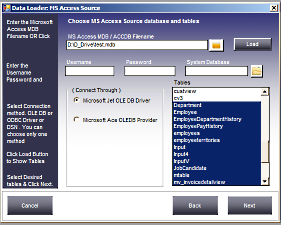 Select MS Access table you want to transfer