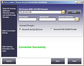 Choose MS Access database