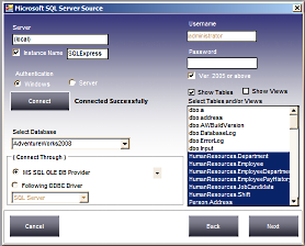Select MSSQL Table to Convert